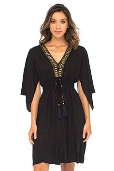 cf6c83dc38 Back From Bali Womens Short Sundress Flowy Boho Beach Dress with Beaded Deep  V Neck