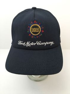 41cd3fc8f0a Vintage UAW Ford Motor Company Hat Snapback Cap Blue Union Made Embroidered  USA