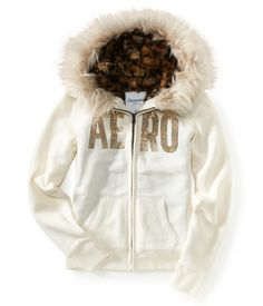 Aero Animal Print Full-Zip Hoodie! It features a fuzzy lining, faux fur trim on the hood and a rhinestone logo on the front. #Aeropostale