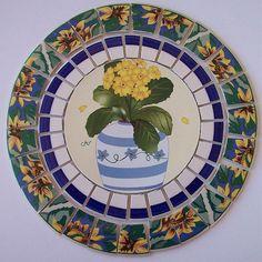 "China Mosaic Tile Set 8 1/2"" Arrangement Design Sunflower Potted Plant Blue Yellow Stepping Stone Tesserae Broken Plate Mosaic Art Supply"
