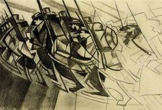 Study for Returning To The Trenches by CRW Nevinson (1914) / Nevinson said of this piece 'I have tried to express the emotion produced by the apparent ugliness and dullness of modern warfare. Our Futurist technique is the only possible medium to express the crudeness, violence and brutality of the emotions seen and felt on the present battlefields of Europe.'