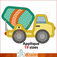Cement truck applique design. Machine embroidery design -INSTANT DOWNLOAD- 19 sizes. Cement truck embroidery. Concrete truck applique. BX by JLdizains on Etsy