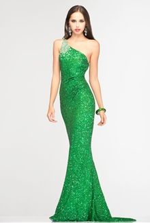 This would look great for the hollywood theme we're having- SCALA Prom 2013 Long One-Shoulder Dress Emerald