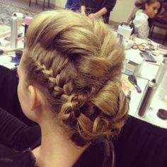 Braids! Bridal Updo with braids. Mohawk fishtail with side braids! Did this for a bridal show! #braids #bridal #salonbellamore #mohawk