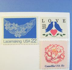Vintage Postage Stamps Unused, LOVE Pink Flowers, Lace,  Blue Doves, Mail 20 Invitations up to 2 oz.. $34.00, via Etsy.