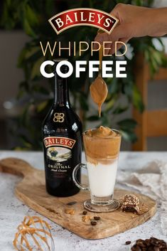 Whipped coffee with Baileys is the best thing since your go-to latte. Yep, we said it.  Holiday Drinks, Party Drinks, Cocktail Drinks, Fun Drinks, Yummy Drinks, Beverages, Coffee Drink Recipes, Alcohol Drink Recipes, Coffee Drinks