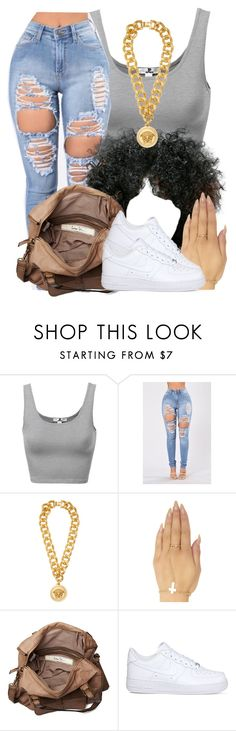 """Fresh💦😏"" by slayed-fashion ❤ liked on Polyvore featuring Versace, Wet Seal, Friis & Company and NIKE"