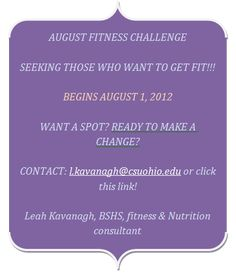 August Fitness challenge, taking sign ups now!