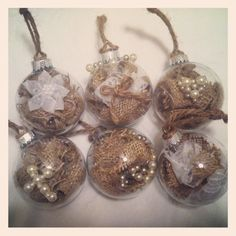 Rustic Burlap Christmas Ornaments With Pearl Embellishments- what a neat idea, to stuff a christmas ornament with burlap and other goodies!