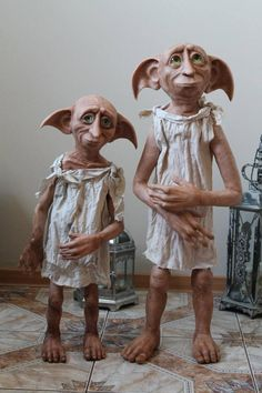 Harry Potter Beasts, Harry Potter Dolls, Dobby Harry Potter, Harry Potter Drawings, Avatar Baby Doll, Avatar Babies, Polymer Clay Sculptures, Sculpture Clay, Dobby The Elf