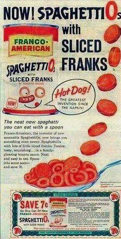 Spaghettios with sliced franks.