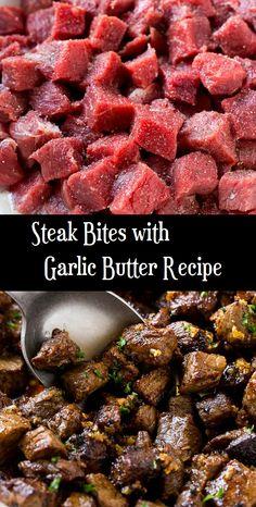 Steak Bites with Garlic Butter Recipe - Steak Recipes Steak Recipes Stove, Steak Dinner Recipes, Easy Steak Recipes, Stew Meat Recipes, Grilled Steak Recipes, Instant Pot Dinner Recipes, Cooking Recipes, Recipes For Round Steak, Chopped Steak Recipes
