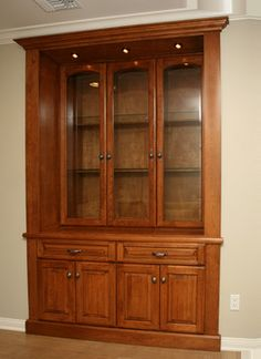Pacific Coast Custom Design Built In China Cabinet Finished A Caramel Brown