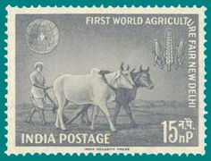 @INDIAN POSTAL STAMP OF #FARMER PLOUGHING WITH BULLOCKS A BEAUTIFUL DEPICTING WAY IN WHICH @INDIAN STAND FRONTFOUR