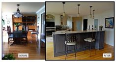 Once the wall was removed between dining room and kitchen a much more entertaining friendly space evolved! Before After Kitchen, Great Rooms, Kitchens, Dining Room, Entertaining, Space, Wall, Furniture, Design