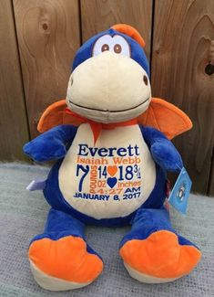 Dragon Stuffed Animal With Birth Stats. Personalized Baby Boy Gift Embroidered Birth Information. World Class Embroidery Baby Monogram, Monogram Gifts, Monthly Pictures, Pet Dragon, Personalized Baby Gifts, Baby Boy Gifts, New Baby Products, Birth Announcements, Cubbies