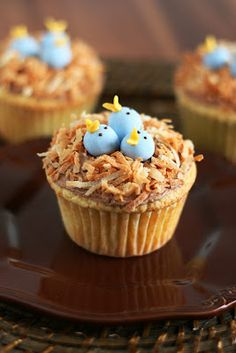 Bird's Nest Cupcakes - toasted coconut for the nest and then I would leave off the chick part and just have (Cadbury mini) eggs.