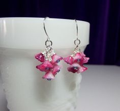 Pink Rose Flower Cluster Drop Earrings by DelaneyJeanJewelry