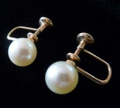 Vintage 10K Cultured Pearl Screw Back Earrings 8MM, Vintage Jewelry, Jewellery, Gift for Her, Valentines, Mother of the Bride, Wedding by MuskRoseVintage on Etsy
