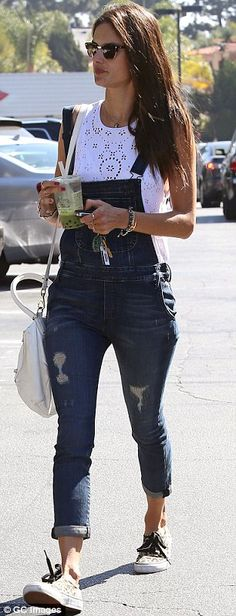 Alessandra pairs the Daisy Chain Tank perfectly with her dungarees. #alebyalessandra