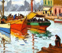 Ésta es una de las tantas obras del gran pintor argentino (Día de sol ).   Benito Quinquela Martín Art Painting Gallery, Ocean Waves, South America, Landscape Paintings, Art Drawings, Sailing, My Arts, Fine Art, Canvas
