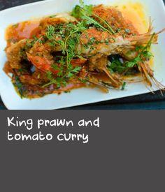 King prawn and tomato curry King Prawn Recipes, Curry Recipes, Shrimp Recipes, Asian Recipes, Ethnic Recipes, Thai Cooking, Just Cooking, Cooking Recipes