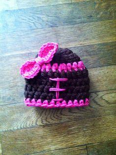 Girls Football crochet hat by KnitsNKnotsByFrances on Etsy, $10.00