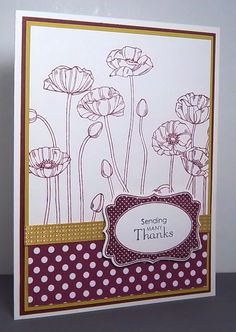 Poppies are so elegant and summery. Here I stamped them onto Stampin' Up! Shimmery White Cardstock and paired them with the NEW Polka Dot Designer. Flower Stamp, Flower Cards, Poppy Cards, Pattern Paper, Paper Patterns, Card Making Techniques, Get Well Cards, Stampin Up Cards, Your Cards