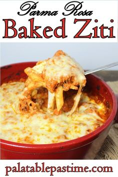 This simple baked ziti recipe with Parma Rosa sauce is a perfect Italian pasta comfort food meal, full of mozzarella, ricotta, and Italian sausage! #SundaySupper