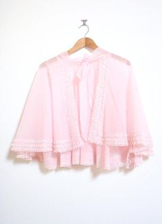 the take a sip babes cape // Vintage Pink Sheer Lace Floaty Frill Bed Jacket