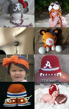 """My Auburn University Inspired Converse Booties set is featured in this fun Treasury on Etsy... """"The Iron Bowl of crochet"""" Auburn vs. Alabama! Too funny! --Pinned with TreasuryPin.com"""