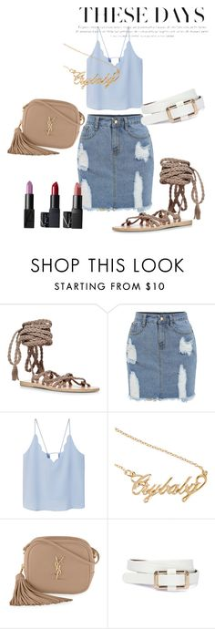 """""""Untitled #54"""" by gina-cremont on Polyvore featuring Ancient Greek Sandals, MANGO, Yves Saint Laurent, contestentry, laceupsandals and PVStyleInsiderContest"""