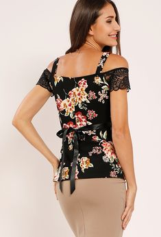 Lace Applique Floral Open-Shoulder Top Lace Tops, Floral Tops, Papaya Clothing, Lace Applique, Sweater Shirt, Size Model, Bodysuits, Cloths, Casual
