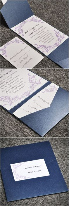 lavender purple and navy blue damask pocket vintage wedding invitations at http://www.elegantweddinginvites.com/product/elegant-purple-damask-card-and-blue-pocket-affordable-wedding-invitation-sets-ewpi015/?mpin0301