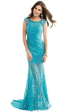 Cheap Exquisite A-line Scoop Straps Crystal Detailing Sweep/Brush Train Lace Evening Dresses From Highly Praised Online Shop
