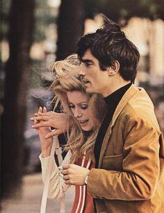 """Catherine Deneuve & Sami Frey in """"Manon 70"""", 1969."""