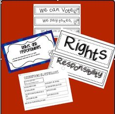 Rights and Responsibilities Pocket Chart Sort by Jen Francis-Dix 3rd Grade Social Studies, Kindergarten Social Studies, Social Studies Worksheets, Social Studies Classroom, 2nd Grade Classroom, Teaching Social Studies, Rights Respecting Schools, Social Studies Communities, Child Care Resources