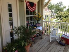 The July 4th party is ready to go on this Tucker Hill front porch!  (McKinney, TX)
