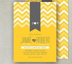 Modern Printable Wedding Invitation - Chevron Pattern - CHEVRON & RIBBONS collection -  yellow and grey