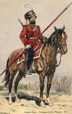 Russian Cossack of the Life Guards Cossack Regiment, Imperial Army. Old postcard, 1914