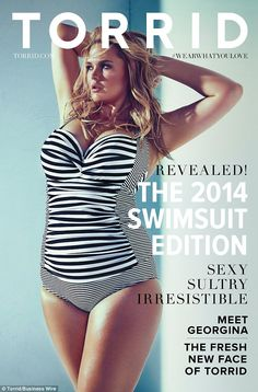 Cover girl: Georgina Burke has been signed as Torrid's first-ever face, and graces the front of its swimsuit catalogue