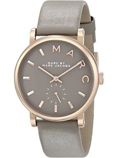 Marc by Marc Jacobs Women's MBM1266 Baker Rose-Tone Stainless Steel Watch with Grey Leather Band ❤ Fossil Watches