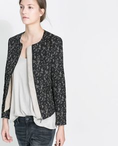 Image 5 of QUILTED JACQUARD JACKET from Zara