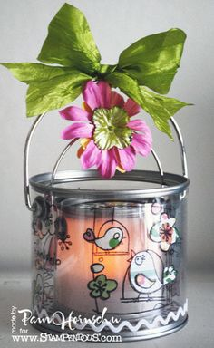 Garden lantern from two pails and Stampendous images by Pam Hornschu.