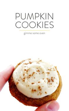 My favorite pumpkin cookie recipe! These soft and delicious pumpkin cookies are iced with a heavenly cream cheese frosting, and are the perfect treat for fall dessert baking. So delicious! | gimmesomeoven.com