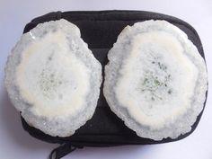 2 Pcs Druzy Slice Loose Elongated Designer Geode Agate  Matched Pair Quartz #Unbranded