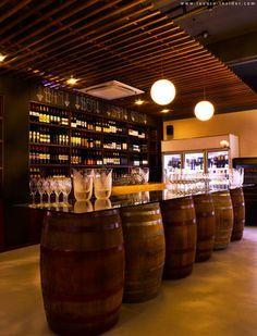 rustic wine bar - barrels a cool DIY fir a basement/mancave bar