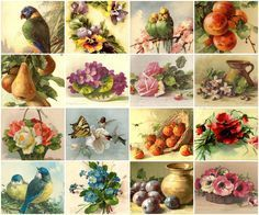 """Use these lovely images for any of your art projects! Vintage Catherine Klein Images collage sheet 1"""" squares 32 images on each sheet (2 of each image) Free"""