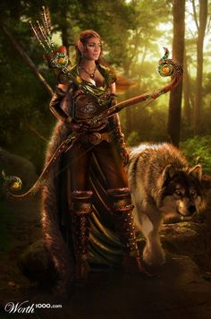 She reminds me of Jelina and her wolfhound Tristan (Anari and Kekoa by LunarRose)