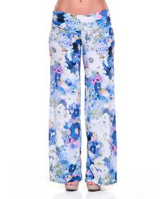 Another great find on #zulily! Blue & White Poppy Flower Palazzo Pants by White Mark #zulilyfinds